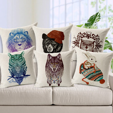 Top Sale Support Animal Series Textiles Lion Owl Rabbit Wolf Sofa Fundas 45Cmx45Cm Square Top Leather Sofa Printing Pillow Cover(China)