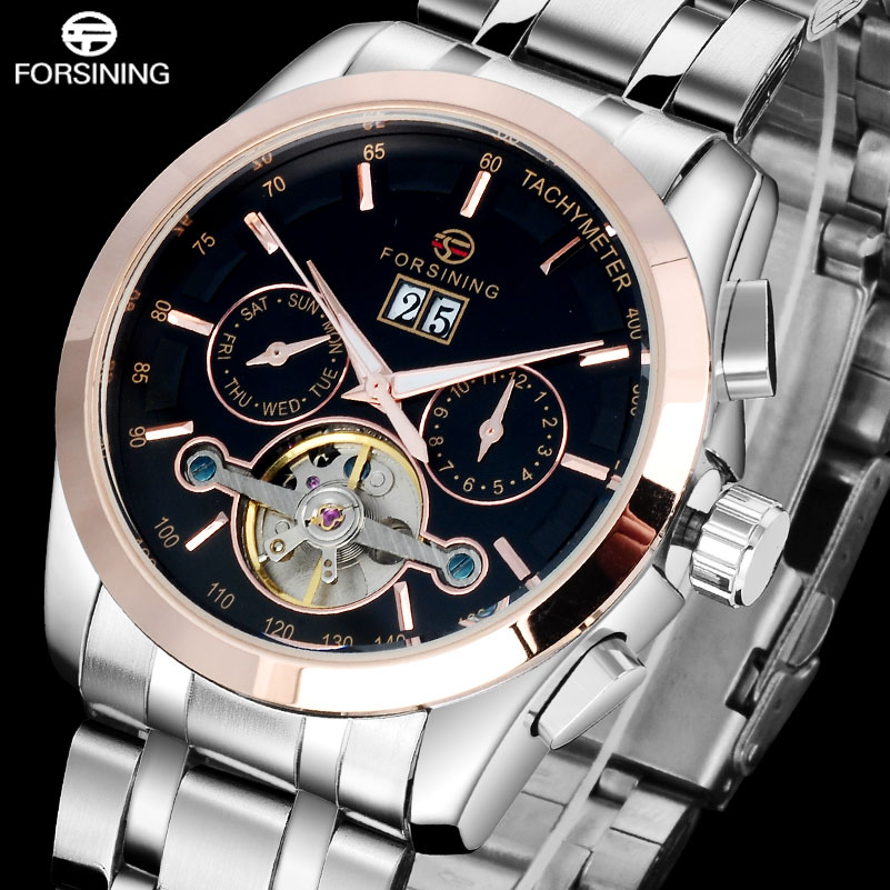 FORSINING Brand Luxury Mechanial Watch Mens Stainless Steel Tourbillon Automatic Watches Auto-Calendar Clock Relogio Masculino<br>