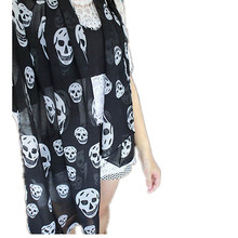 2017 New Women Neckerchief Big Skull Head SKeleton Soft girl Long Shawl Scarf Wrap Stole women Skull Scarf pattern shawl Feb16