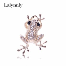 Unique Cute Gold Color Frog Shape Carve Full Shining Rhinestone Brooch Women Gifts   XZ00231