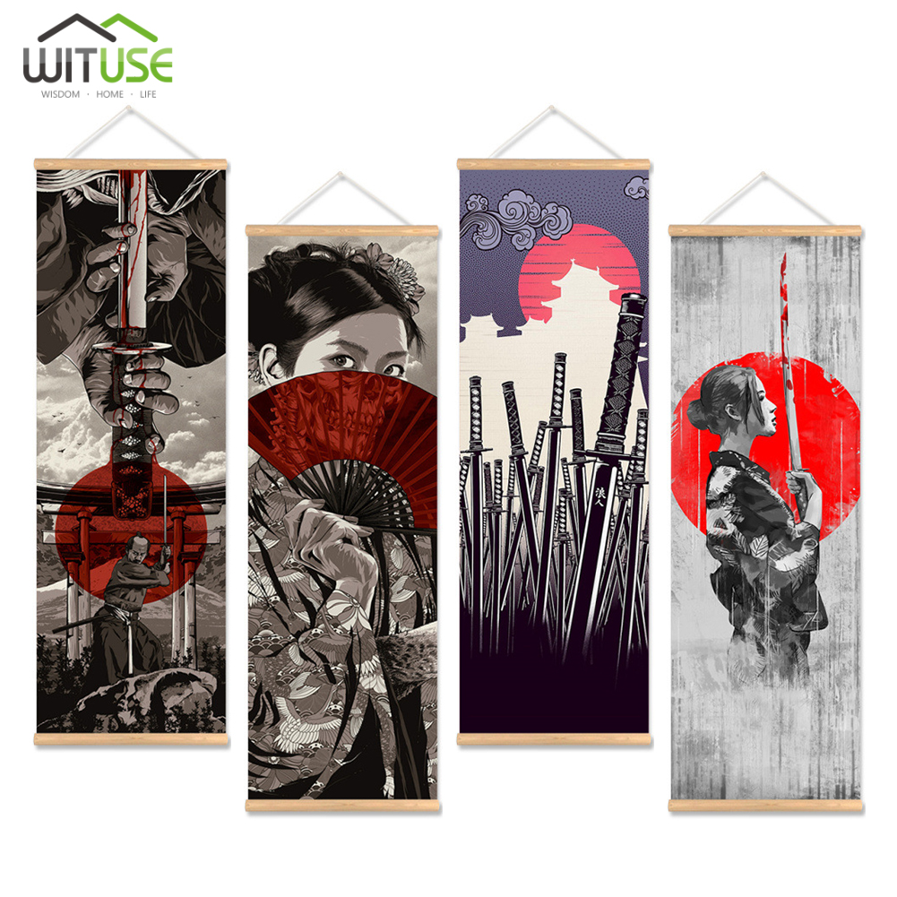 wall picture japan samurai canvas print poster with wooden hanger home decor 4C