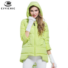 CIVICHIC Hot Sale Korean Winter Cloak Down Jacket Girl Thicken Hooded Angel Wing Warm Coat 3 Quarter Sleeve Eiderdown Wear DC530(China)