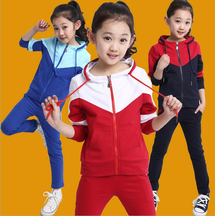 2017 New Sports Sets Of Clothes For Girls And Boys In Autumn Children s Spell Color Two - piece Zipper Disfraz Infantil <br><br>Aliexpress