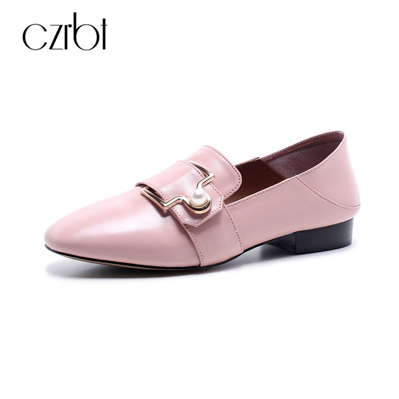 CZEBT 2018 Casual Flat Shoes Women Spring Autumn Genuine Cow Leather Loafers Big Size Women Shoes Metal Pearl Decoration Flats<br>
