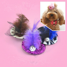 Pet accessories hat stage performance Feather belt cap clip accessories Pet Hairpin Hat Headweard Dog Cat Hairpin Hair Clip