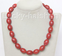 "JQHS natural 18"" 14X18mm oval red sponge corals beads necklace j10509"