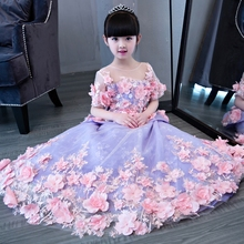 2017New Arrival European Luxury Girls Children long tail princess flowers dress kids wedding birthday beautiful long dresses(China)
