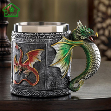 1Pcs Double Wall Stainless Steel Retro 3D Royal Dragon Pattern Mugs Home Office Coffee Tea Milk Mug Drinking Bottle 350ML(China)
