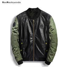 maomaoleyenda High Quality Leather Jacket Men New Brand Autumn Stand Collar PU Motocycle Jackets Green Flying Pilot Coats M-3XL(China)