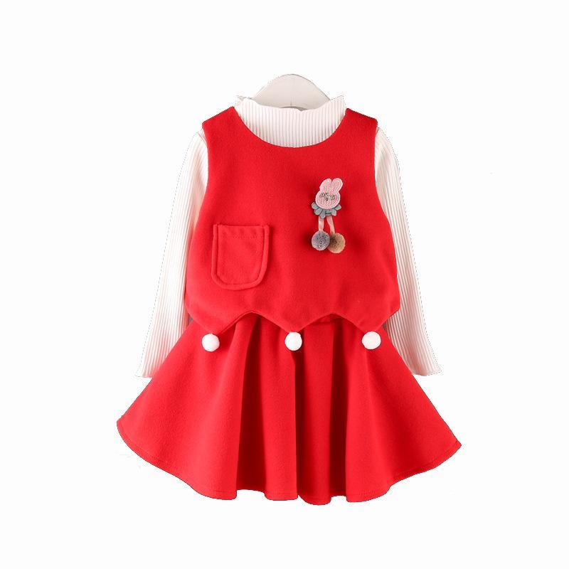 2018 Autumn Spring Baby Girls Dresses Long Sleeve Shirt +Vest +Skirt 3 Piece Dress Kids Princess Dresses Children Clothes<br>
