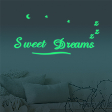 Glow in the Dark Luminous Sweet Dreams DIY Mural Sticker Removable Fluorescent Wall Bed Background Paper Decoration for Children