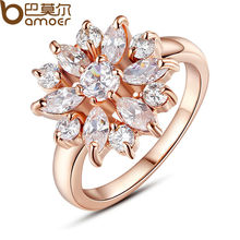 BAMOER Rose Gold Color Finger Ring for Women with AAA Cubic Zircon Engagement Jewelry #6 7 8 9 JIR029(China)