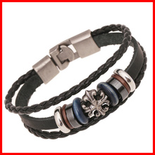 Fashion Alloy Cross Charm Bracelet Vintage Leather Bracelet Korea Style Bangle Bracelet