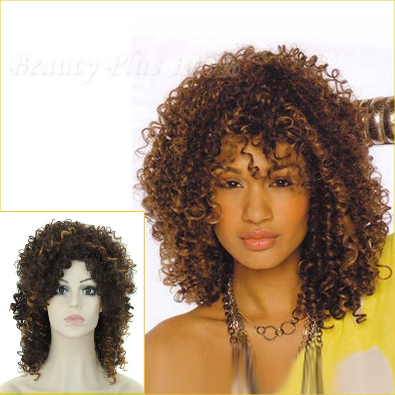 WholeSale Fashion Womens ladies girls Afro Kinky Curly Wigs Synthetic Medium Curly Synthetic Kinky Afro Wigs Top Qulaity<br><br>Aliexpress