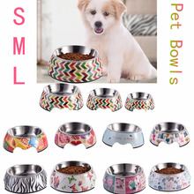 Stainless Steel Feeder Multiple Patterns Cat Food Storage S/M/L Sizes Water Drinker Pet Dog Food Bowls Container for Pet(China)