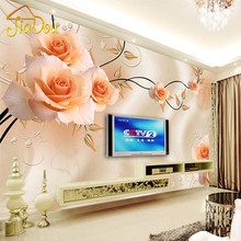 Custom Photo Mural Wallpaper Luxury Villas TV Backdrop Papel De Parede 3D Wallpaper For Walls Warm Rose Wall Papers Home Decor(China)