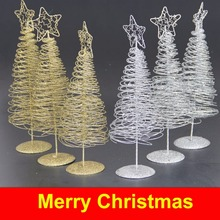 30cm Christmas Iron Wire Tree with Five-pointed Star Home Garden Ornaments Home Decoration Mini Desktop Christmas Gift(China)