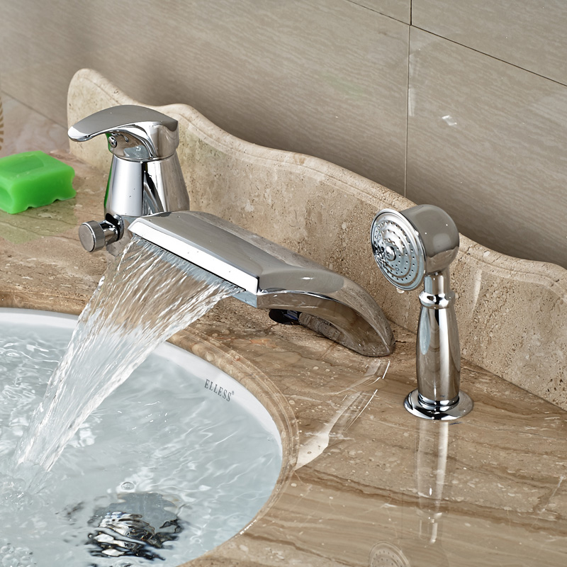 Luxury Single Handle Brass Waterfall Bathtub Faucet Set Widespread 3pcs with Brass Handshower<br><br>Aliexpress
