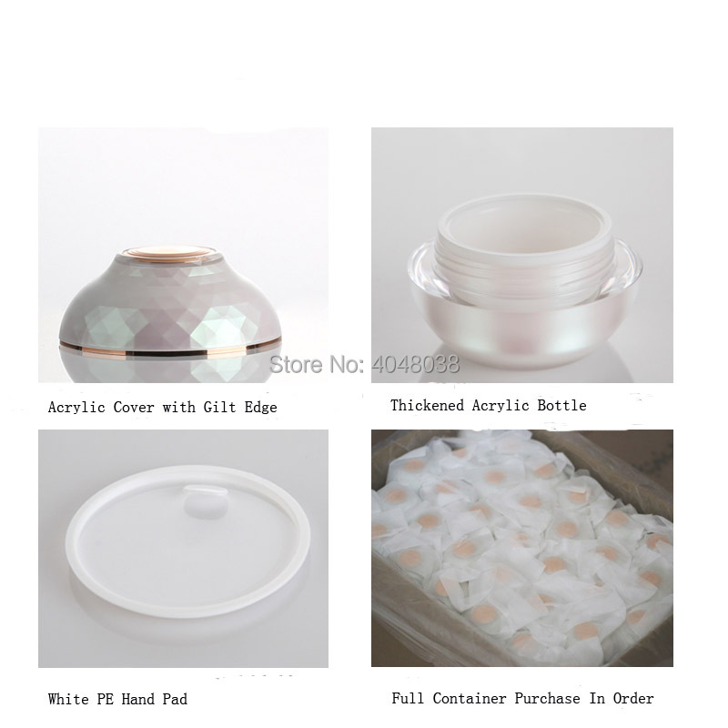 30G 50G Refillable Cosmetic Container Thickened Acrylic Facial Cream Jar with Hand Pad Pink Bowl Shape Top Grade Eye Cream Jar