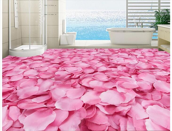 Custom photo 3d flooring mural self - adhesion wall sticker Dreamy pink petals  painting picture 3d room murals wallpaper<br>
