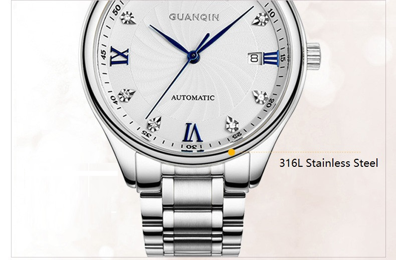 GUANQIN Luxury Lovers Watch Top Brand Women Men Watches Waterproof Sapphire Crystal 316L Stainless Steel Couple Watches 2 Pieces (7)