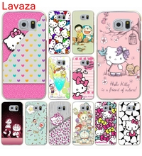 Lavaza Animation Hello Kitty mobile phone bag Hard Transparent for Galaxy S4 S5 & Mini S6 S7 S8 edge S6 Edge Plus(China)