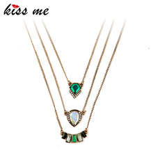 KISS ME Fashion Personality Geometric Imitation Emerald Pendant  Three Layers  Brand Necklace Factory Wholesale