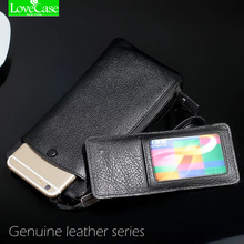 "100% Genuine leather phone bag Universal 1.0""~6"" For iphone 4 4s 5 5s 5c SE 6 6s 7 Plus huawei P9 P10 mate9 wallet purse case(China)"