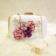 Fashion creative DIY hand sewing Pearl flowers sequins Chain Messenger Shoulder Messenger bag white and