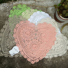 Handmade Crochet DIY Placemat Heart Hotel Dinner Decor Coaster Flower Clothes Accessory 32*28CM Table Doily Wedding Prop 10pcs