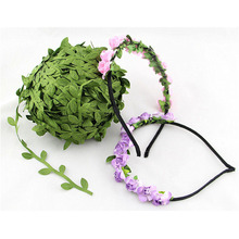 555# 10 Meter Silk Nature Green Artificial Leaf Leaves Vine Wedding Decoration Foliage Scrapbooking Craft Wreath Fake Flowers(China)