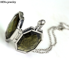 Horcrux Locket Glass Box Alloy Pendant Cool Necklaces Necklace Chain Decoration Charm Gift For Fans Cosply Movie Jewelry