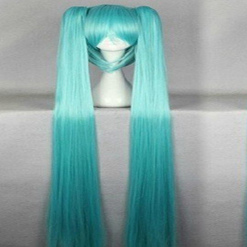 HAIRJOY Synthetic Hair Fashion Vocaloid Miku 130cm Green Long Straight Two Braids  Anime Party Cospaly Wig<br><br>Aliexpress