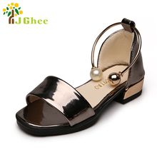 J Ghee Girls Summer Shoes Elegant Princess Party Show Kids Shoes For Girls Euro 26-30 Children's Sandals With Heels For Girls