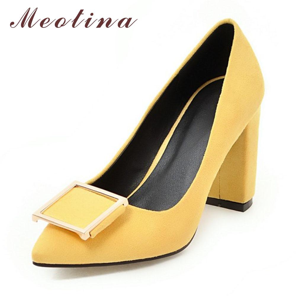 Meotina High Heels Shoes Women Pumps Pointed Toe High Heels Dress Patent Leather Ladies Shoes Red Black Yellow Big Size 9 10 43<br><br>Aliexpress