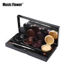 Music Flower 4 Colors Eyeshadow Cream Shimmer Matte Eyeliner Gel Makeup Eye Liner Palette Nude Smoky Eyes Make Up Set with Brush