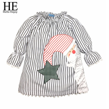 Christmas Dresses Pajamas Girls Dress 2017 Kid Nightgows Long Sleeve Cotton Stripes Cartoon Santa Claus Tassel Dresses For Girl(China)