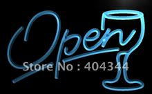 LB536- Script OPEN Glass Cocktails Bar LED Neon Light Sign(China)