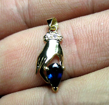 0.6 CARAT 18K Solid gold  pendant necklace hand sapphire necklace For Women Fine Jewelry Luckly hand diamond pendant