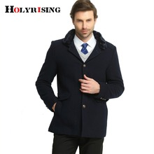 Men Single Breasted Casual Mens Wool Blend Jackets Winter For Male False fur collar Wool Overcoat Holyrising #18014(China)