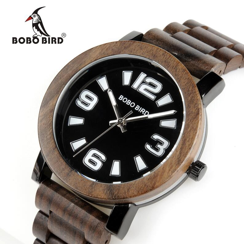 BOBO BIRD Antique Mens Wood Watches Steel Case Wooden Bezel Wristwatch with Wooden Band in Gift Box<br>