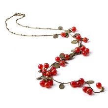 LNRRABC New Retro Women Statement Necklace Red Cherries Pendant Long Sweater Decoration Chain Female Fashion Jewelry Accessories(China)