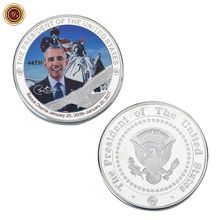 WR US 44th President Silver Plated Challenge Coin Barack Obama Commemorative Coin with Case Home Decorative Silver Coin(China)