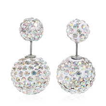 Doreen Box Clay Double Sided Ear Post Stud Earrings Ball White Pave AB Color Rhinestone 10mm Dia. 16mm Dia.,1 Pair