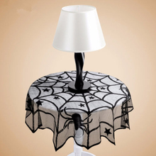 1Pcs 40 inch Halloween Lace Spider Web Tablecloth Round Table topper Covers Cosplay Equipment Table Decoration Fireplace Scarf(China)