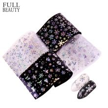 Full Beauty Holographic Snowflakes Nail Transfer Foils Laser Sticker Nail Art Adhesive Polish Christmas Decals Wraps CHXK94-97