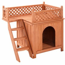 Wooden Puppy Pet Dog House Wood Room In/Outdoor Raised Roof Balcony Bed Shelter PS6091(China)