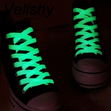 Velishy 1 Pairs=2 PCS 1M Men Women Luminous Shoelace Glow In The Dark Fluorescent Shoelace Flat Shoe Laces(China)
