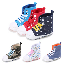 Fashion Print Baby Boys Girls Sports Shoes Newborn Kids Bebe Crib High Top Sneakers Boots Soft Soled Anti-Slip Booty Footwear