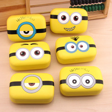 LIUSVENTINA cute yellow men Expression leather box 6 types contact lens case lenses container